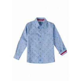 Conjunto de camisa estampada y bermuda azul marino UBS2